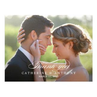 Reine Eleganz-Hochzeit danken Ihnen, - Weiß zu Postkarte