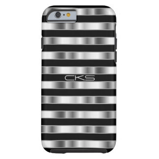 Reine silberne metallische Streifen | mit Tough iPhone 6 Hülle