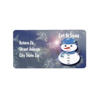 Reiner weißer Schneemann Adressetikett