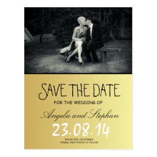 Reines Eleganz-Foto Schwarzweiss Save the Date Postkarten
