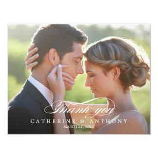 Reines Eleganz-Hochzeits-Foto danken Ihnen zu 10,8 X 14 Cm Einladungskarte