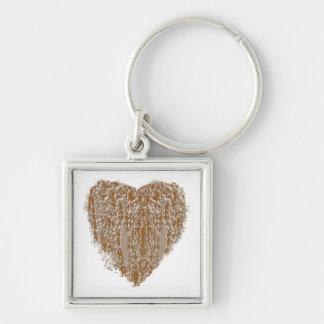 REINES Herz - Silber des Goldn gravierte Entwurf Schlüsselanhänger