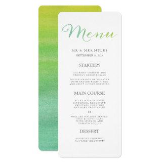 Reines Liebewatercolor-Hochzeits-Menü/Limoner 10,2 X 23,5 Cm Einladungskarte