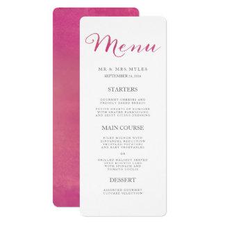 Reines Liebewatercolor-Hochzeits-Menü/Rose 10,2 X 23,5 Cm Einladungskarte