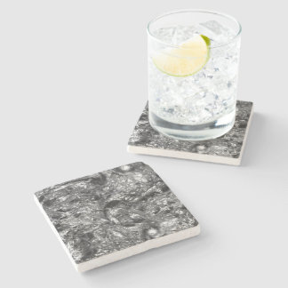 REINES SILBERNES abstraktes Muster + Ihr Text/Foto Steinuntersetzer