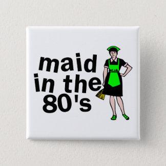 Reinigungs-Mädchen in den achtziger Jahren Quadratischer Button 5,1 Cm