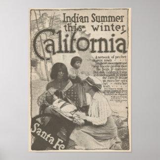 Reise 1916 zu Kalifornien Santa Fe Eisenbahn Poster
