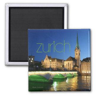 Reise-Andenken-Foto-Magnet Zürichs die Schweiz Quadratischer Magnet