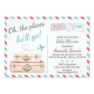 Reise-Babyparty-Einladung, Flugzeug lädt ein Karte