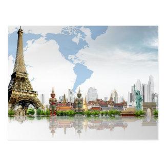 Reise-Bestimmungsorte auf der ganzen Welt Postkarte