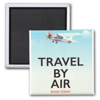 Reise durch Flugzeugverkehrplakat Quadratischer Magnet