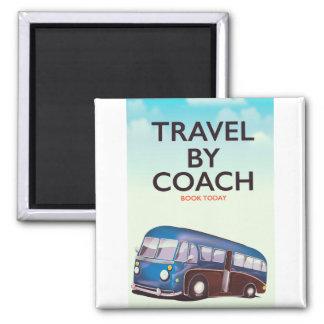 Reise durch Trainer Briten-Reiseplakat Quadratischer Magnet