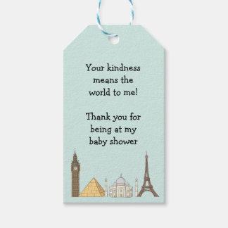 Reise-etikettiert Themed Baby-Dusche | Geschenkanhänger