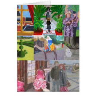 Reise-Kunst-Collage: PARIS VERSAILLES KAIRO HAWAII Karte