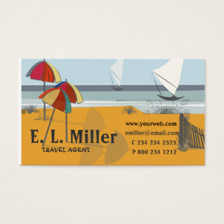 Reise KÜSTE Regenschirm-Segelboot-Ozean Visitenkarte