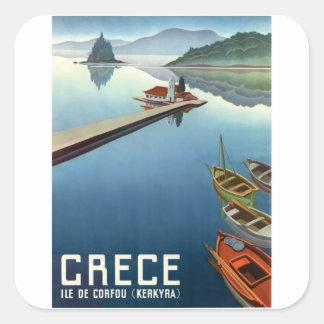 Reise-Plakat 1949 Korfus Griechenland Quadratischer Aufkleber