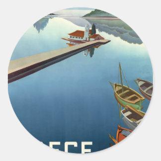 Reise-Plakat 1949 Korfus Griechenland Runder Aufkleber