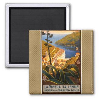 Reise-Plakat Italiener-Rivieras Europa Italien Quadratischer Magnet