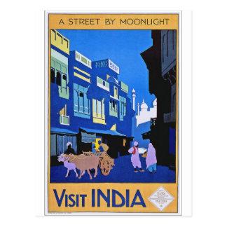 Reise-Plakat-Kunst Besuchs-Indiens Vintage Postkarte
