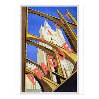 Reise-Plakat-Kunst Besuchs-Prags Vintage Postkarte