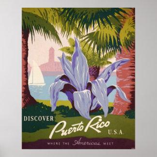Reise-Plakat-Kunst-Druck Puertos Rico Vintager