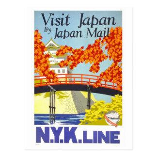 "Reise-Plakat-Postkarte ""Besuchs-Japans"" Vintage Postkarte"