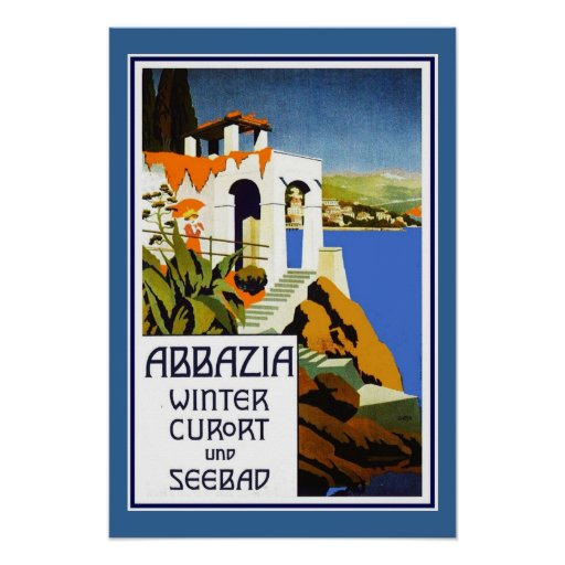Reise-Plakat Vintages Abbazia Italien