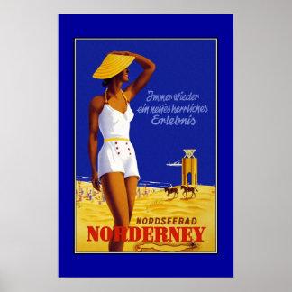 Reise-Plakat Vintages Nordseebad Norderney