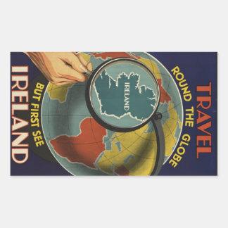 Reise-Plakataufkleber Irlands Vintager Rechteckiger Aufkleber