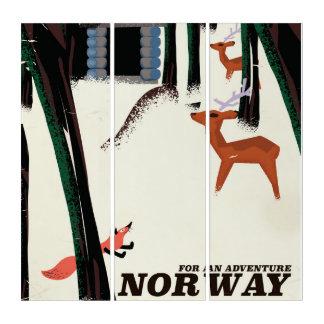 Reise-Plakatlandschaft Norwegens Vintage Triptychon
