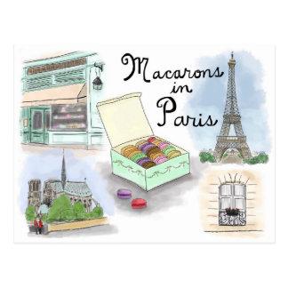 Reise-Skizze-Postkarte: Macarons in Paris Postkarte