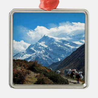 Reise-Sommer Himalaja-Mount Everest-Indiens Nepal Quadratisches Silberfarbenes Ornament