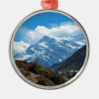 Reise-Sommer Himalaja-Mount Everest-Indiens Nepal Rundes Silberfarbenes Ornament