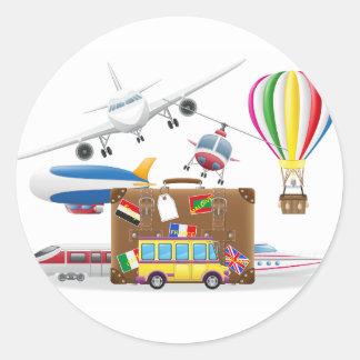 Reise-Transport-Symbole Runder Aufkleber