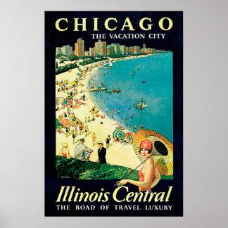 Reise-Vintages Plakat Chicagos Illinois