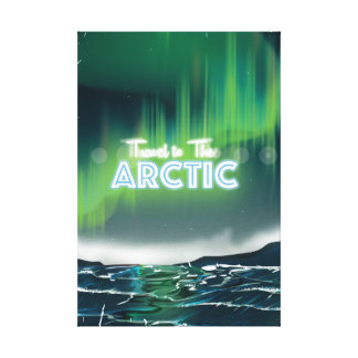 Reise zum arktischen Sciencefiction-Reise-Plakat Gespannte Galeriedrucke