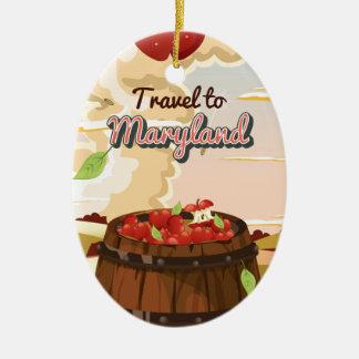 Reise zum Maryland-Reiseplakat Keramik Ornament
