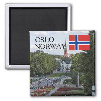 Reiseandenken Norwegens Skandinavien Oslo Vigeland Quadratischer Magnet