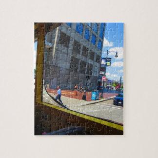 Reisebus-Fensteransichten von Boston-Stadt Amerika Puzzle