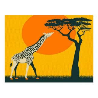 Reiseferien Afrikas Girafe Tansania Retro Postkarte