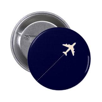 Reiseflugzeug mit punktierter Linie Runder Button 5,7 Cm