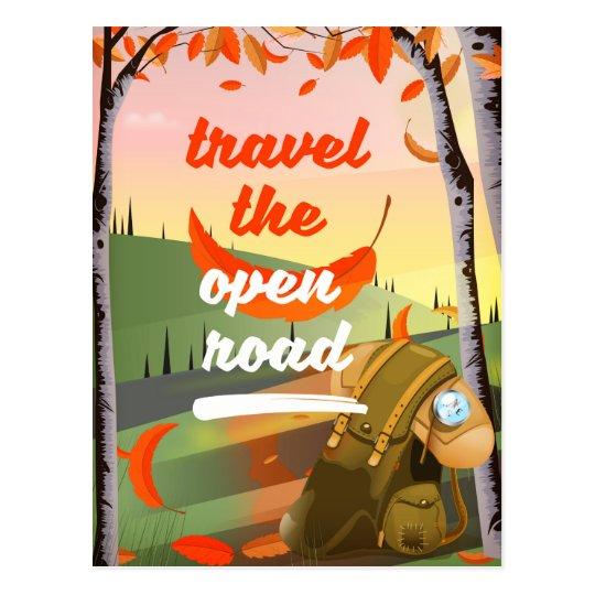 Reisen die offene wandernde Straße Postkarte