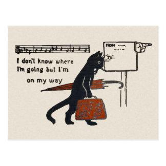 Reisende schwarze Katzen-Vintage Art-Postkarte Postkarte