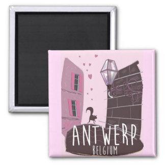 Reiseplakat Antwerpens, Belgien Quadratischer Magnet