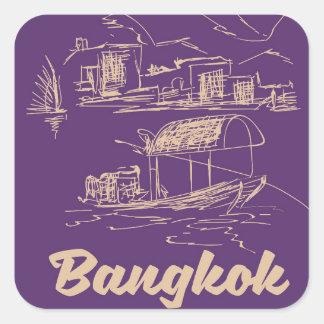 Reiseplakat Bangkoks, Thailand Quadratischer Aufkleber