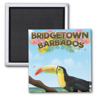 Reiseplakat Bridgetowns Barbados Toucan Quadratischer Magnet