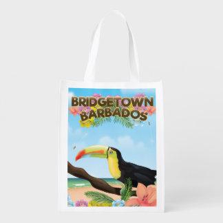 Reiseplakat Bridgetowns Barbados Toucan Wiederverwendbare Einkaufstasche