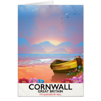 Reiseplakat Fischerbootes Cornwalls Vintages Karte