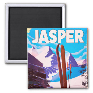 Reiseplakat Jaspis-Albertas Kanada Quadratischer Magnet