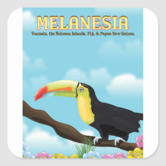 Reiseplakat Melanesiens Toucan Quadratischer Aufkleber